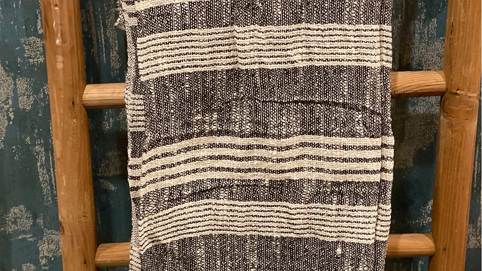 Striped black n natural throw