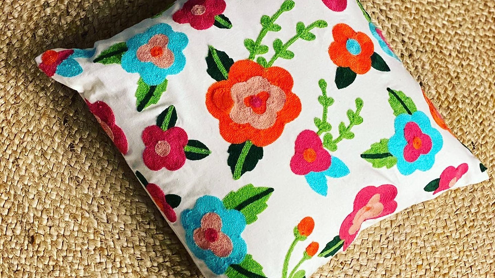 Floral embroided multicolor cushion