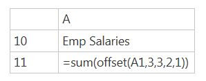 Excel offset function- upskill 5