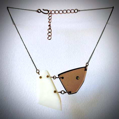 White Onyx & Diamond with Vintage Crystal