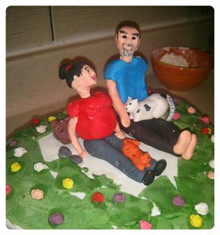 Anne-baba figürlü pasta