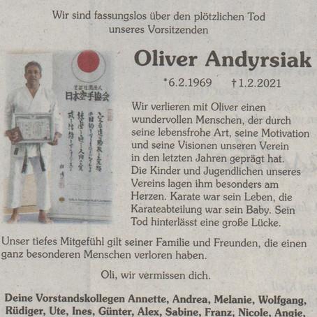 Viel zu früh verstorben: Verband trauert und Oliver Andyrsiak