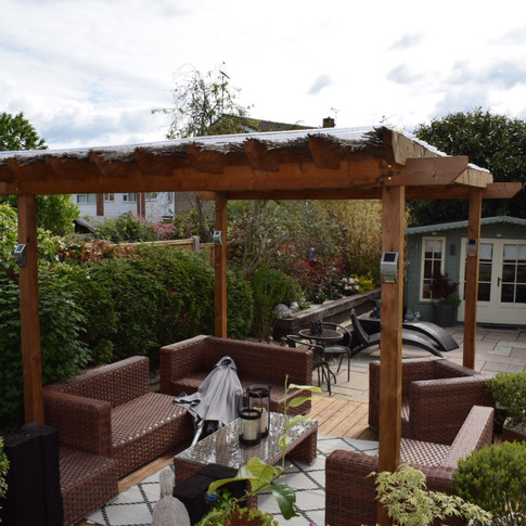 Patio, Decking and Shed