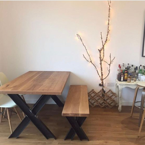Oak X-Frame Table and Bench