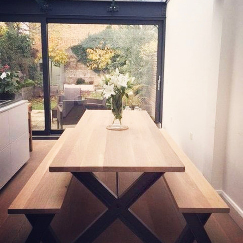 X Frame Table and Bench set