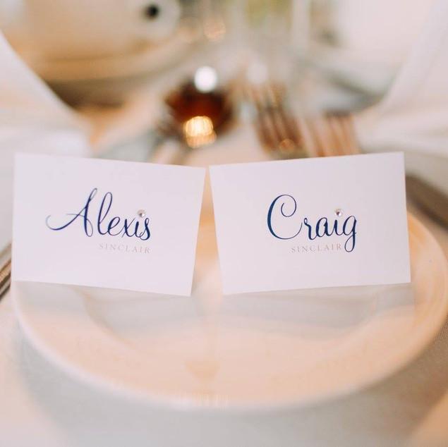 Diamonte Name Cards for Alexis & Craig