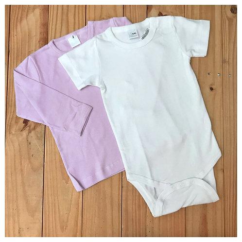 Kit Camiseta M/L + Body Branco M/C