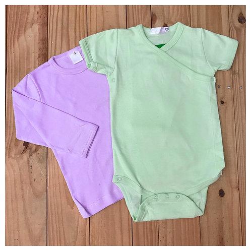 Kit Camiseta M/L + Body Verde M/C