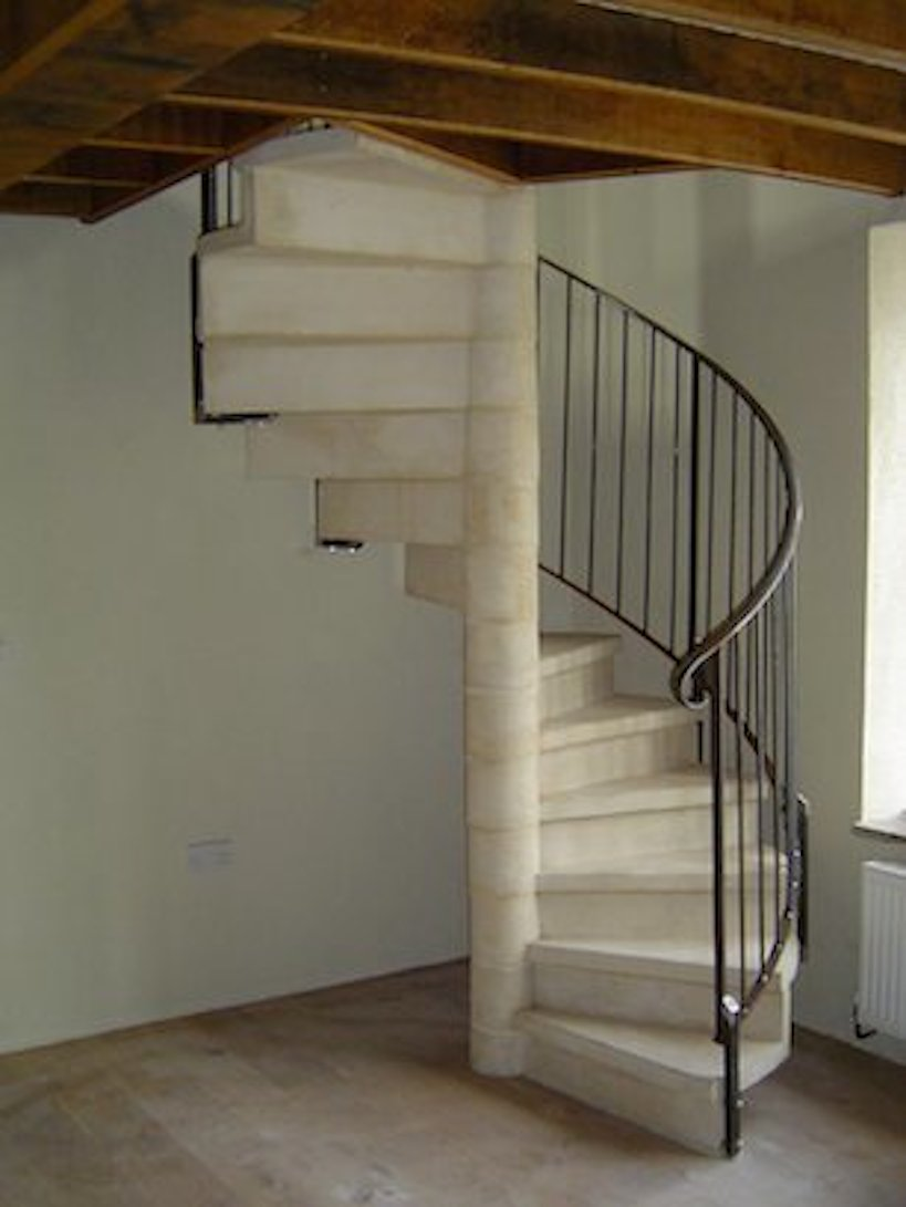 Mock stone with steel handrail