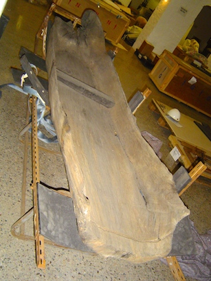 Dugout canoe and mount