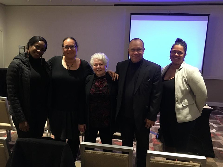 Second from right is the film's magically gifted Music Composer Rodney Jones with, from left, his wife Ruth and their daughter Leana Phipps, and at far right, their daughter Laura Jones.