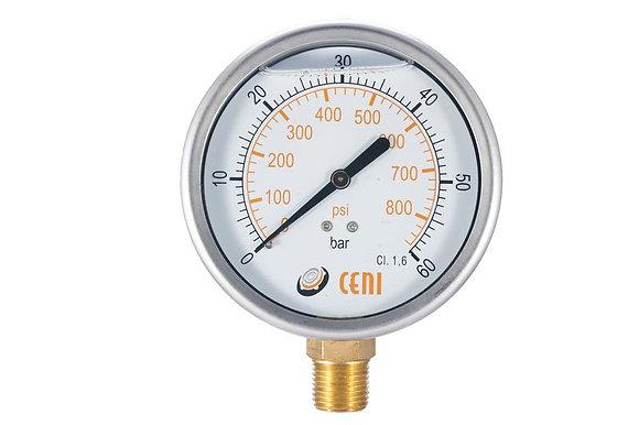 Manometro Reloj De Glicerina 22/63 R1/4 Npt 0-400 Bar-psi