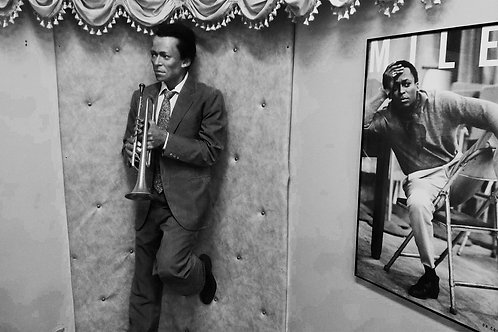 Miles Davis Wax Figure Photo Black and White Print On Canvas 24x28