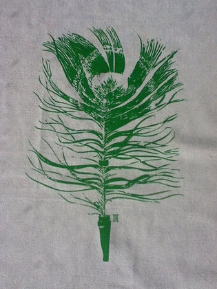 Natural Tea Towel with Peacock Feather
