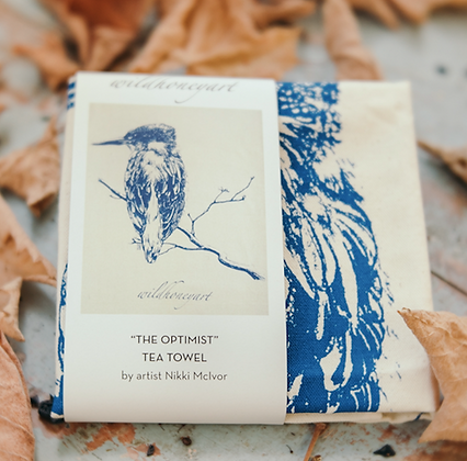 Natural Tea Towel with closeup of Kingfisher