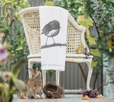 Fluffy Organic Tea Towel with Robin