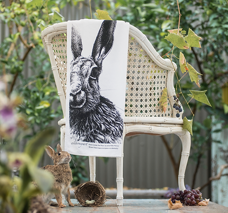 Fluffy Organic Tea Towel with Moon Hare