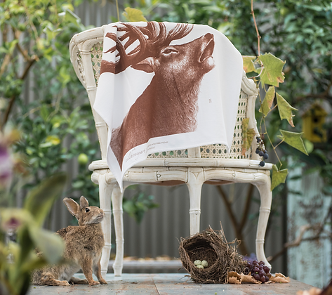 Fluffy Organic Tea Towel with Stag