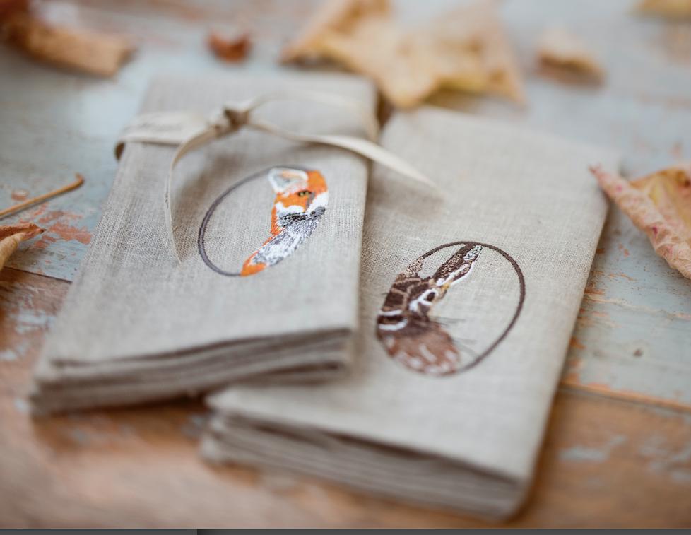 Embroidered Linen Napkins Wildhoneyart