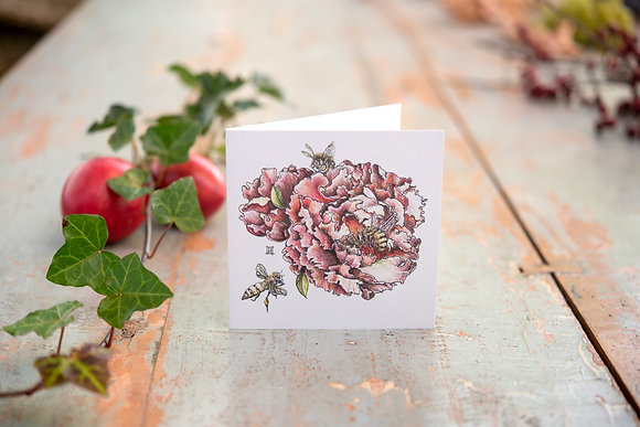 """Peony with Bees - """"Beony"""" Square Card"""