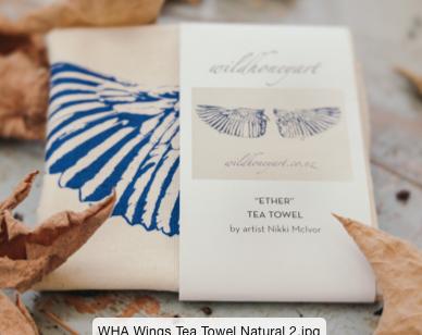 Natural Tea Towel with Wings design
