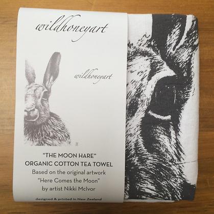 Organic Tea Towel with Moon Hare design