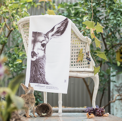 Fluffy Organic Tea Towel with Willow the Fawn