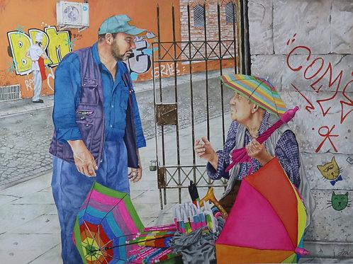Print of Istanbul Umbrella Seller