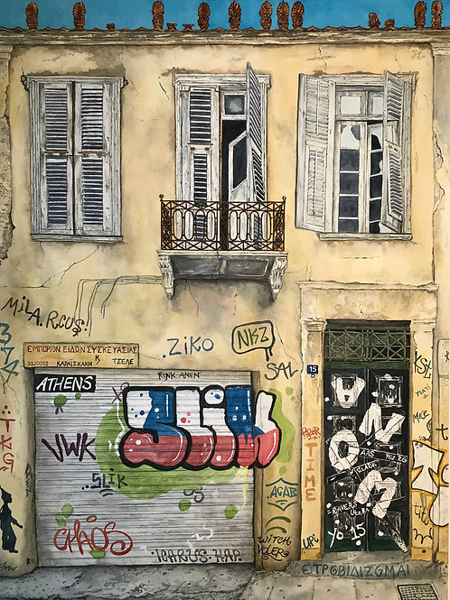 Print of Athens graffiti house 15a