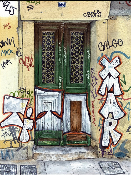 Print of Graffiti Door Athens