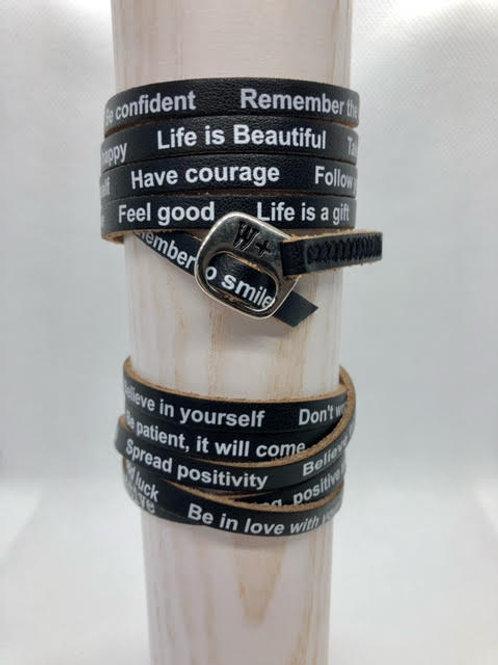 WePositive Leather Wrap Bracelet Black