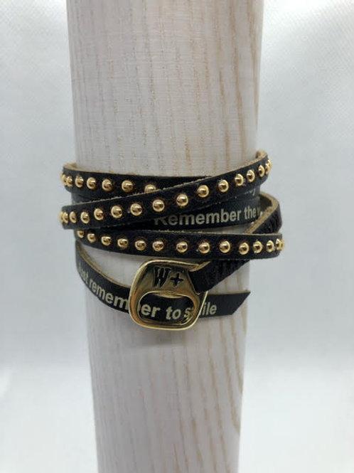 WePositive Leather Wrap Bracelet Brown W Studs