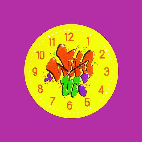 "Horloge ""Wake up !""(Jaune/Orange/Vert/Violet)"