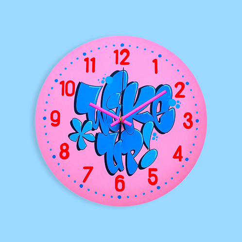 "Horloge ""Wake up !"" (Rose/Bleu ciel)"