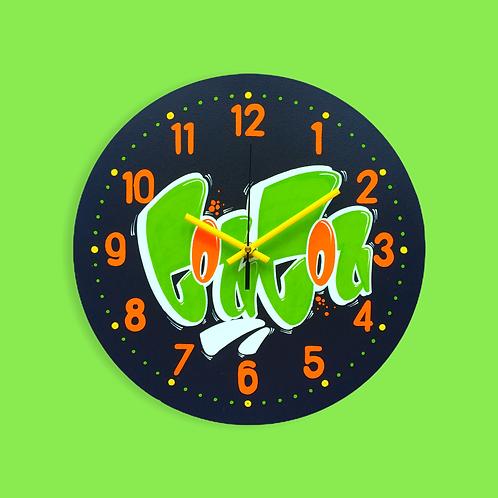 """Horloge """"Coucou"""" (Vert/Violet foncé/Orange)"""