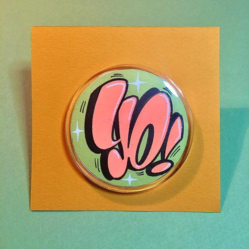 Badge (Kaki clair/Orange flashy)