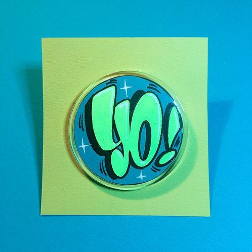 Badge (Bleu turquoise/Vert flashy)