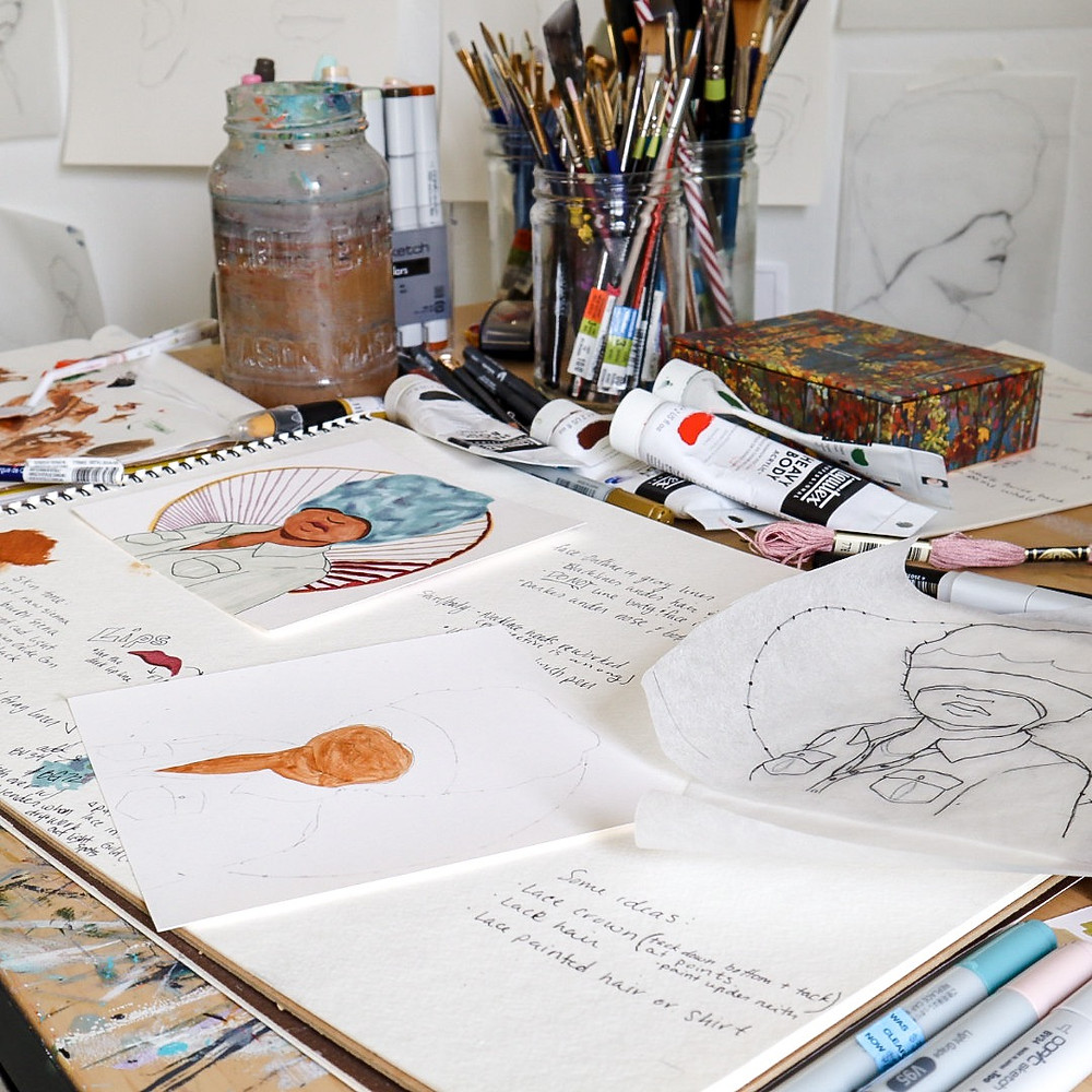 Raven Rohrig's art table with work in progress.