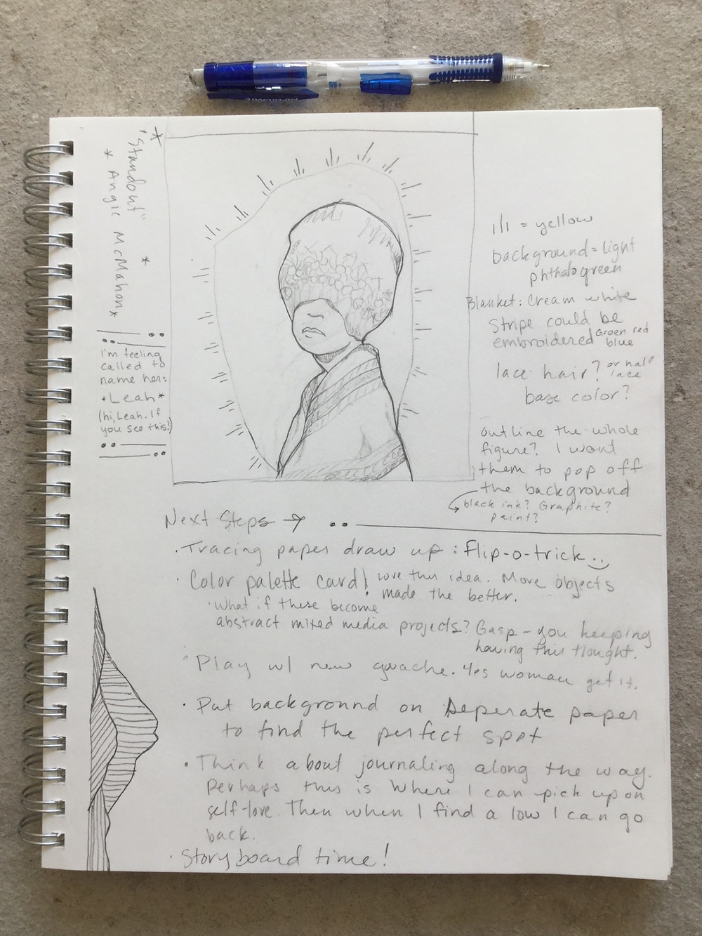 A page from Raven Rohrig's sketchbook.