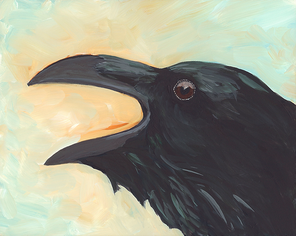 Painting of a raven calling