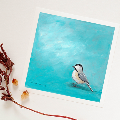Cheery as a Chickadee - Square Print