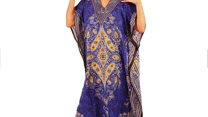 Floral Batik Kaftan Blue