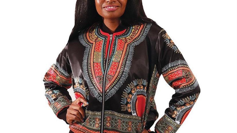 Woman's Black Trad Print Jacket