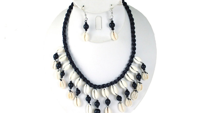 Cowrie Shell Necklace and Earrings Set