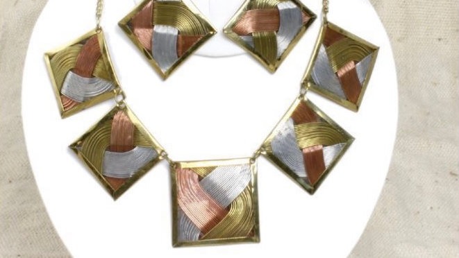 Brass Tri-Metal Necklace Set W/ Bangle