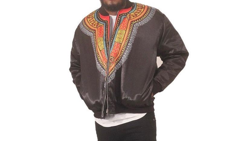 Men's Black Trad Print Bomber Jacket