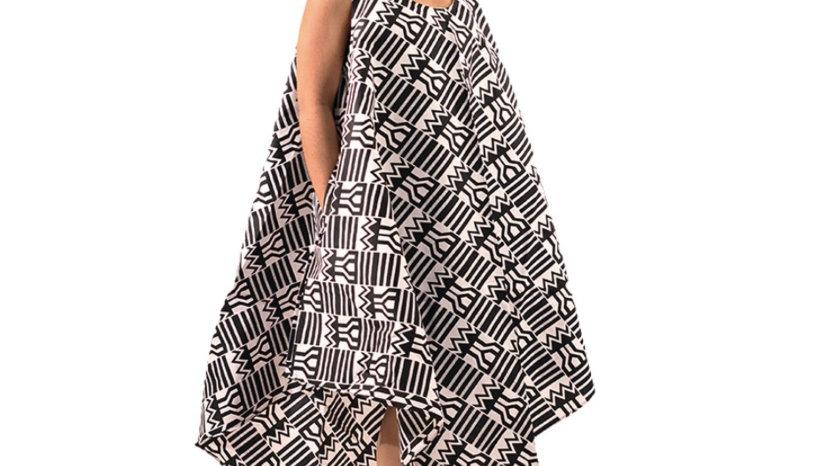 African Print Umbrella Dress/ Mask Set