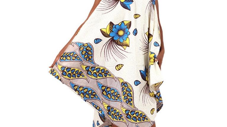 Afriacan Print Umbrella Dress/Mask Set