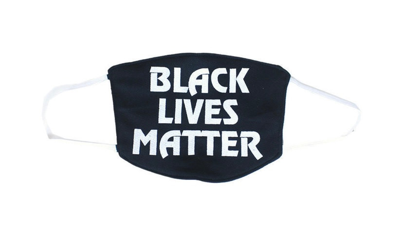 Black Lives Matter Face Mask Black ( With White)