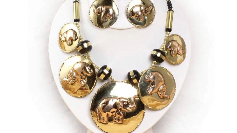 Brass and Copper Elephant Jewelry Set